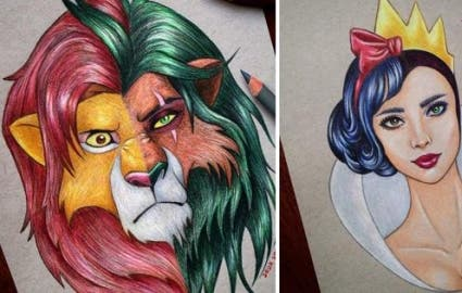 Photo : 10 Disney portraits where the heroes and villains merge into one!